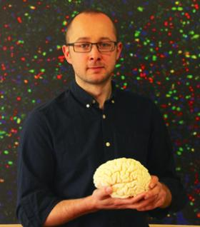Photograph of researcher with brain model