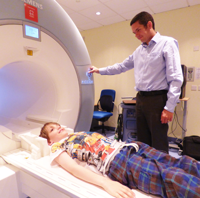 Photograph of patient in MRI scanner