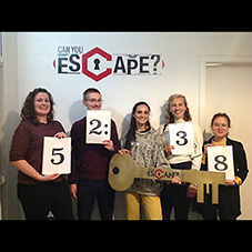 Photograph of our students at an Escape Room challenge