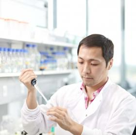 Photograph of researcher in laboratory