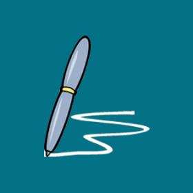 cartoon of pen writing