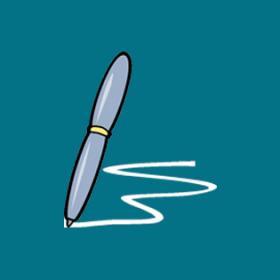 Cartoon of pen writing