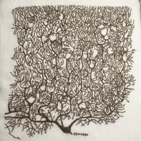 Embroidery of Cajal illustration of a Purkinje cell