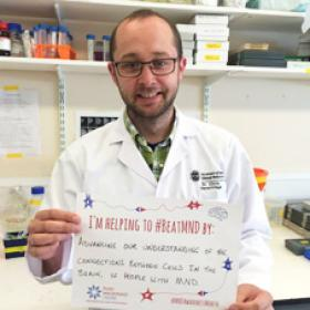 Photograph of researcher taking part in #MND Awareness campaign
