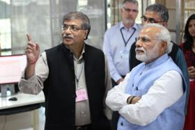 Photograph of Indian Prime Minister visiting the joint NCBS laboratories in Bangalore